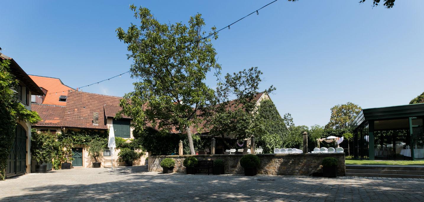 Der Innenhof mit Blick auf Gartenhaus und Scheune